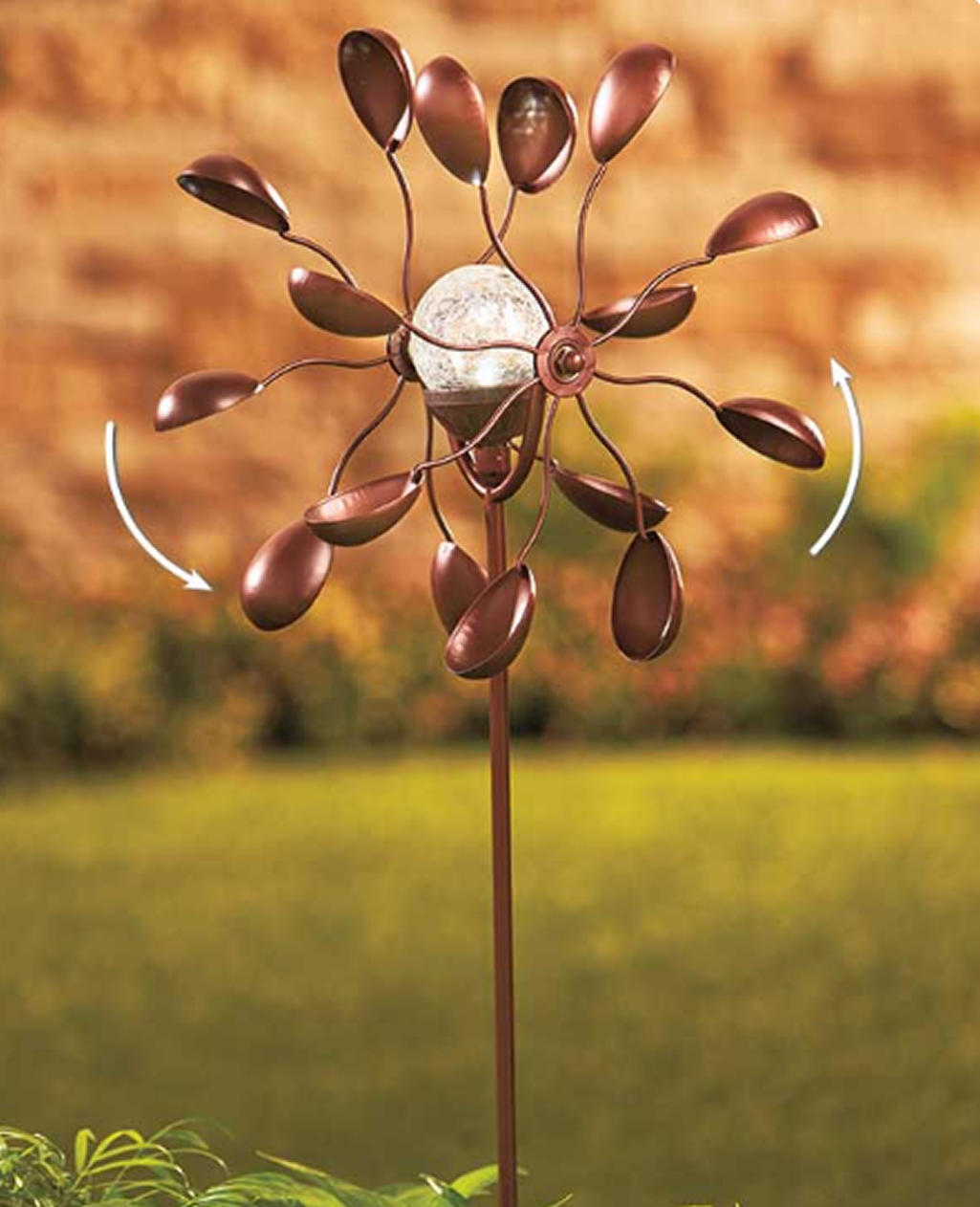 Solar Powered Double Spoon Lawn WindMill Spinner Garden Decoration ...