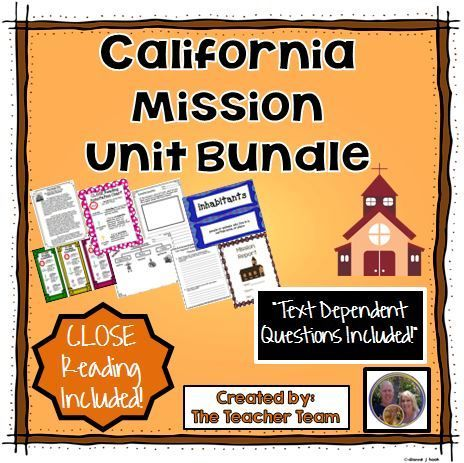 California Mission Unit ~ Close Reading ~ Text Dependent Questions : We have developed this Common Core aligned, complete Missions Unit with CLOSE Reading passages, research report, text dependent questions, and essential questions that contains everything needed to teach a rigorous unit on missions. $