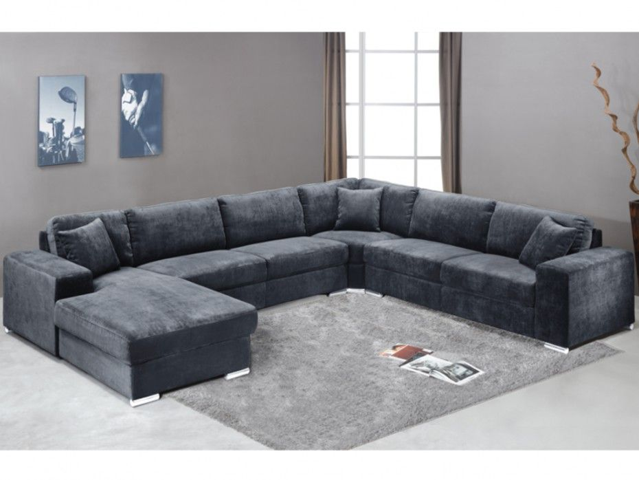 canap panoramique 7 places tissu muse gris angle. Black Bedroom Furniture Sets. Home Design Ideas