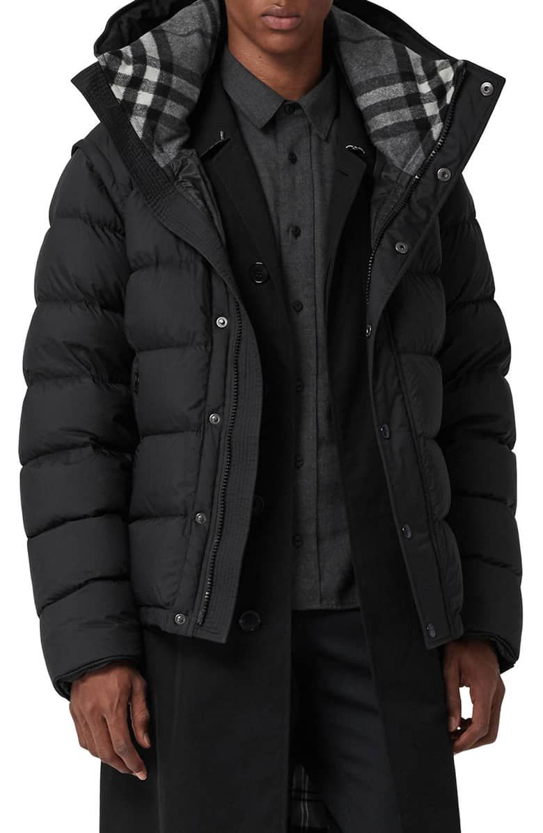 ebc82938c Classic Burberry check flannel lines the hood of a cozy quilted ...
