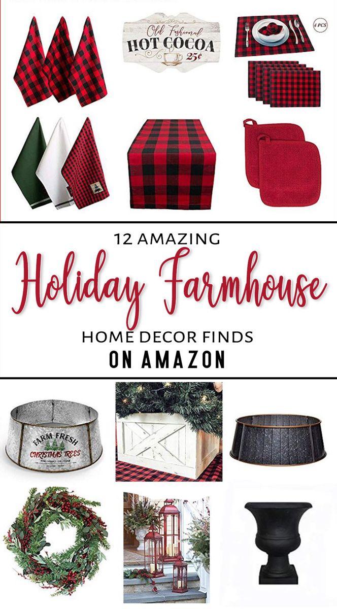 "My ""favorites"" roundup of Buffalo Check Holiday Decor & more on Amazon! #buffalocheck #buffalocheckchristmas #buffaloplaid #buffaloplaidchristmas #amazondecor #holidayhomedecor #christmasdecor #farmhousechristmasdecor"