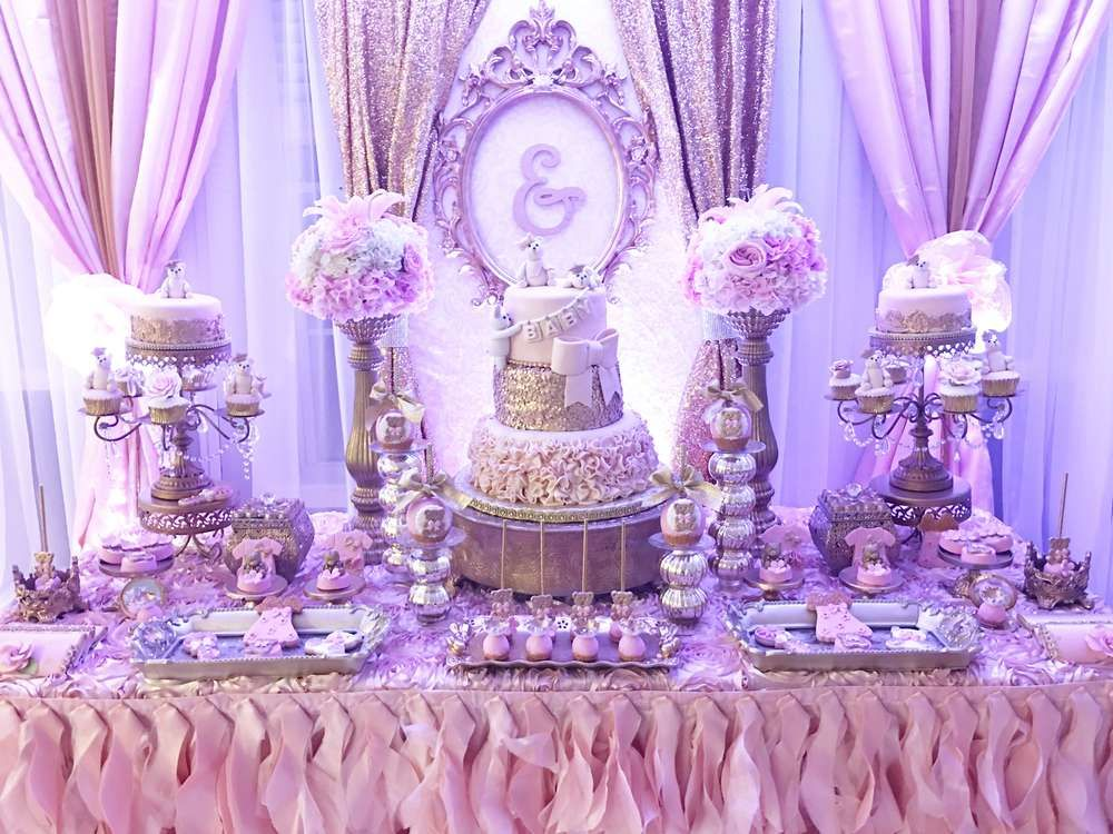 Teddy Bear Baby Shower Party Ideas Lilac Baby Shower Baby Shower Purple Baby Shower Princess