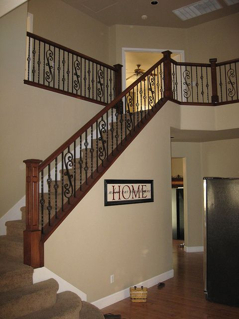 Maple Wood Railing With Box Newel And Scroll Panels Wrought Iron | Wrought Iron And Wood Stair Railing | C Shaped | Banister | Elegant | Geometric | Design Iron