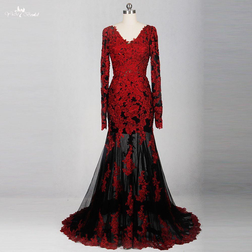 Click To Buy Rse776 Red Black See Through Back Low Long Sleeve V Neck Mermaid Weddin Long Sleeve Dress Formal Red Black Dress Black Lace Bridesmaid Dress [ 1000 x 1000 Pixel ]