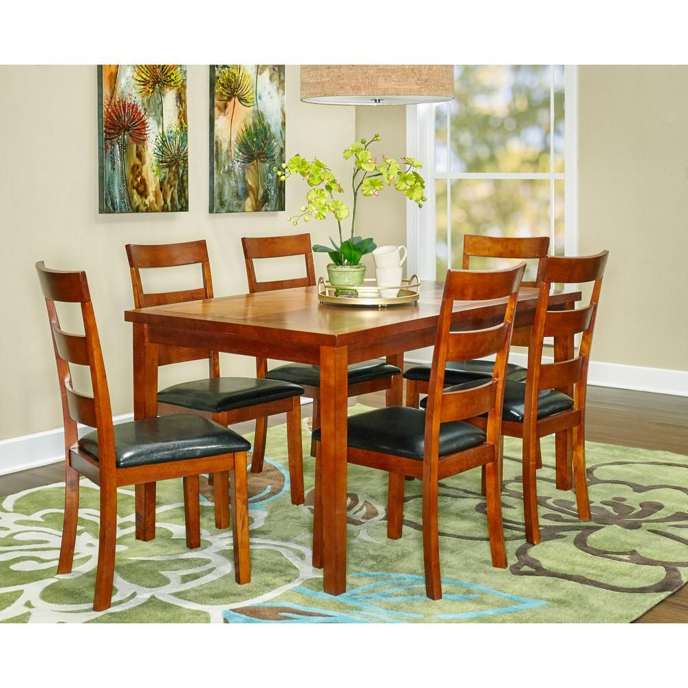 Powell Linville 7 Piece Cherry Red Dining Set Dining Furniture
