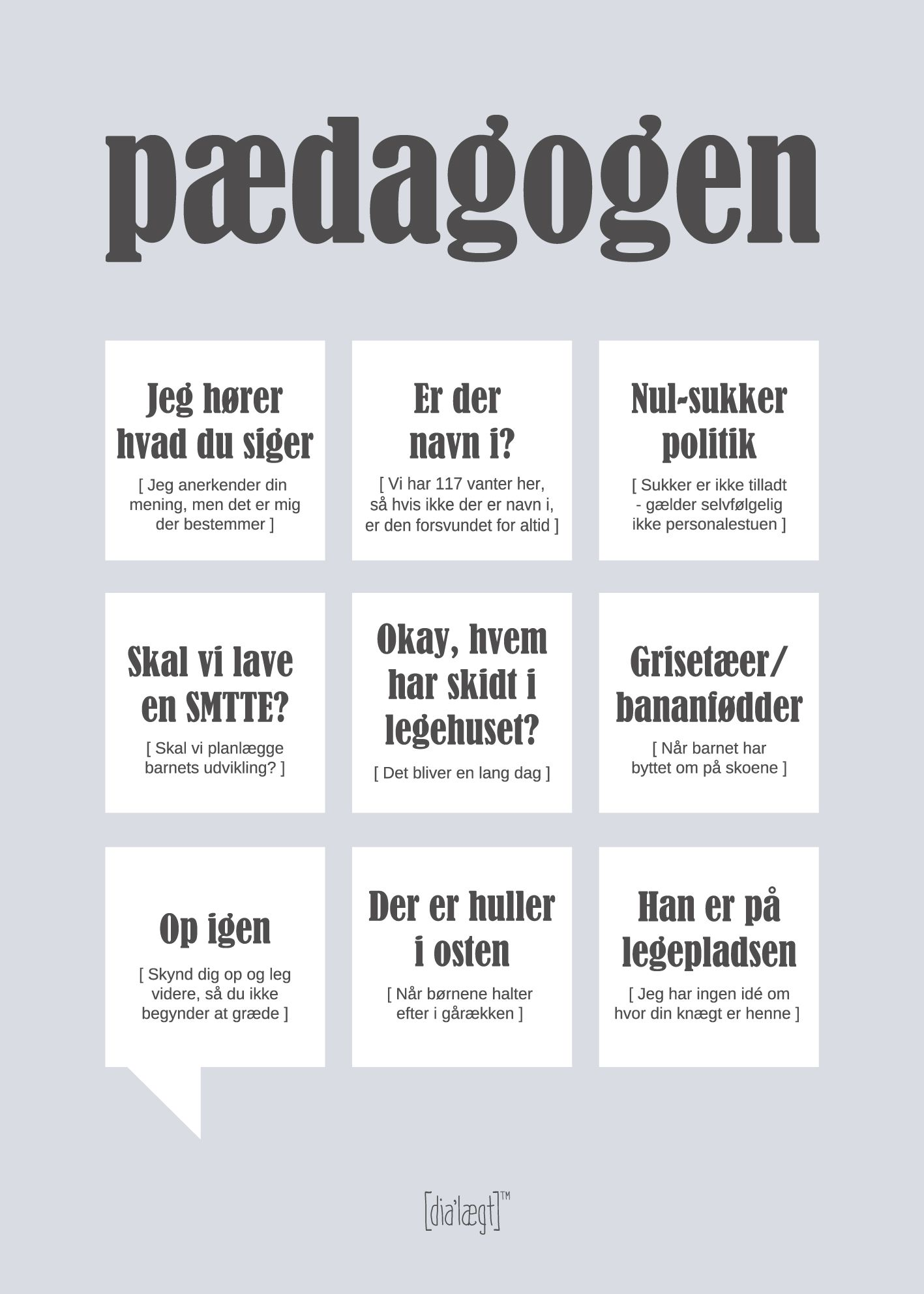 Dialaegt Paedagogen Plakat Clean Sjove Citater Plakater Citater