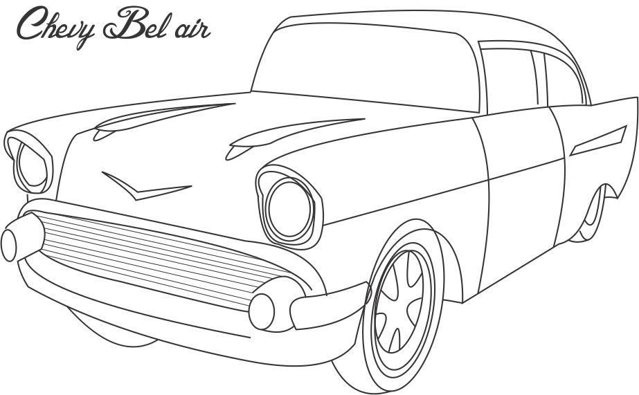 Chevy Bel air coloring printable page for kids  Sewing
