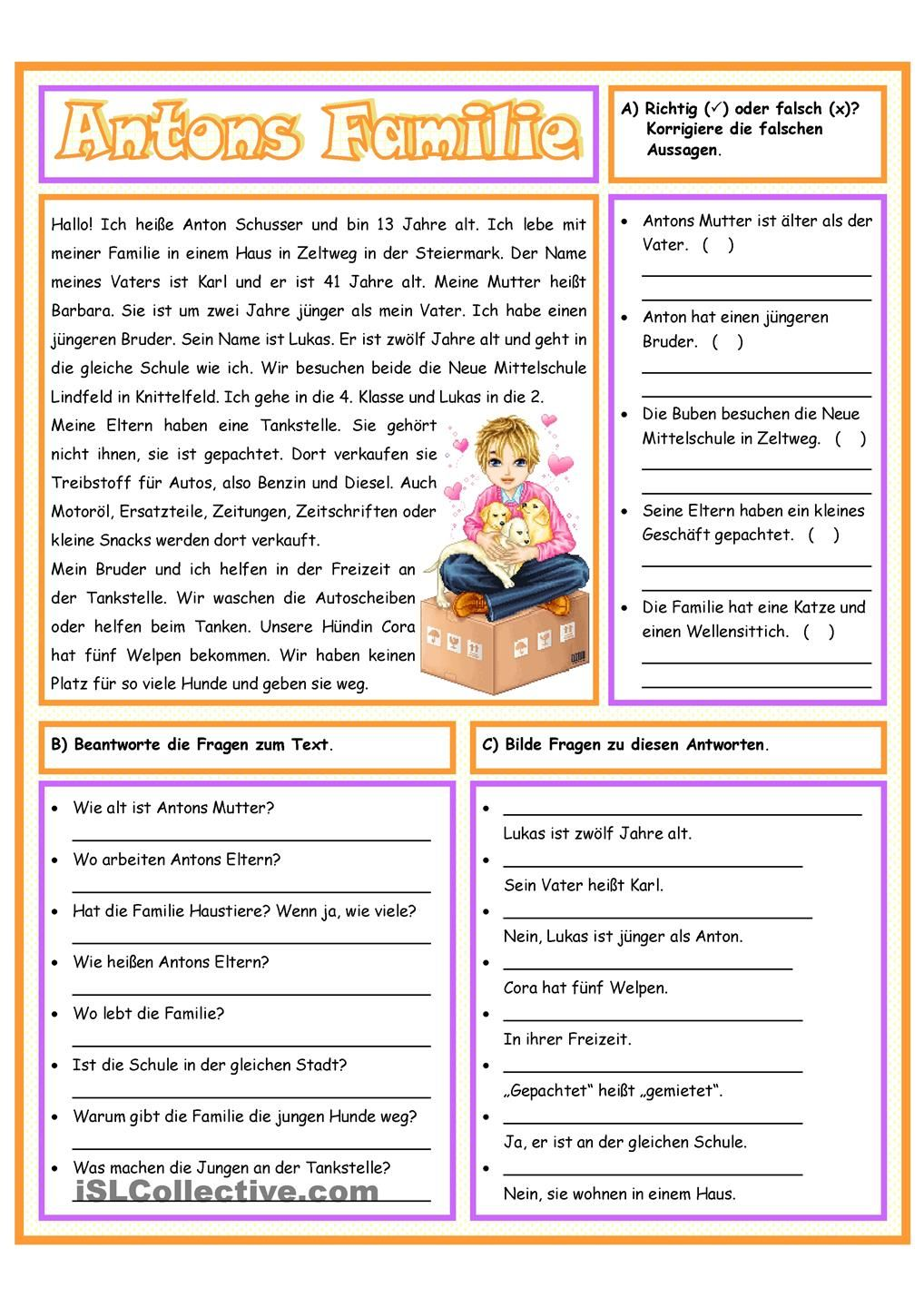 Antons Familie | Anton and Worksheets