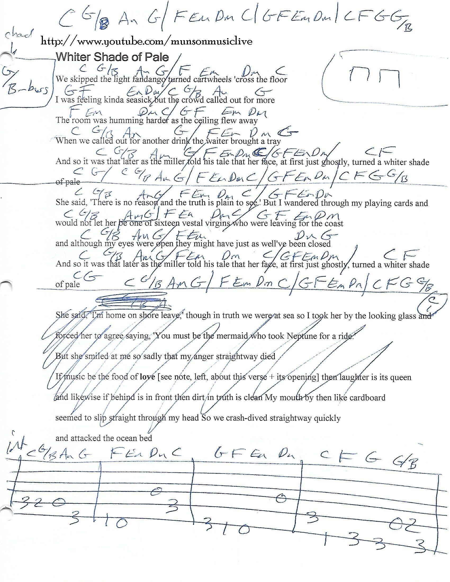 Whiter Shade Of Pale Guitar Chord Chart Guitar Lesson Chord