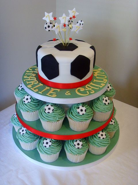 Football Themed Cupcake Tower With Images Soccer Cake Soccer