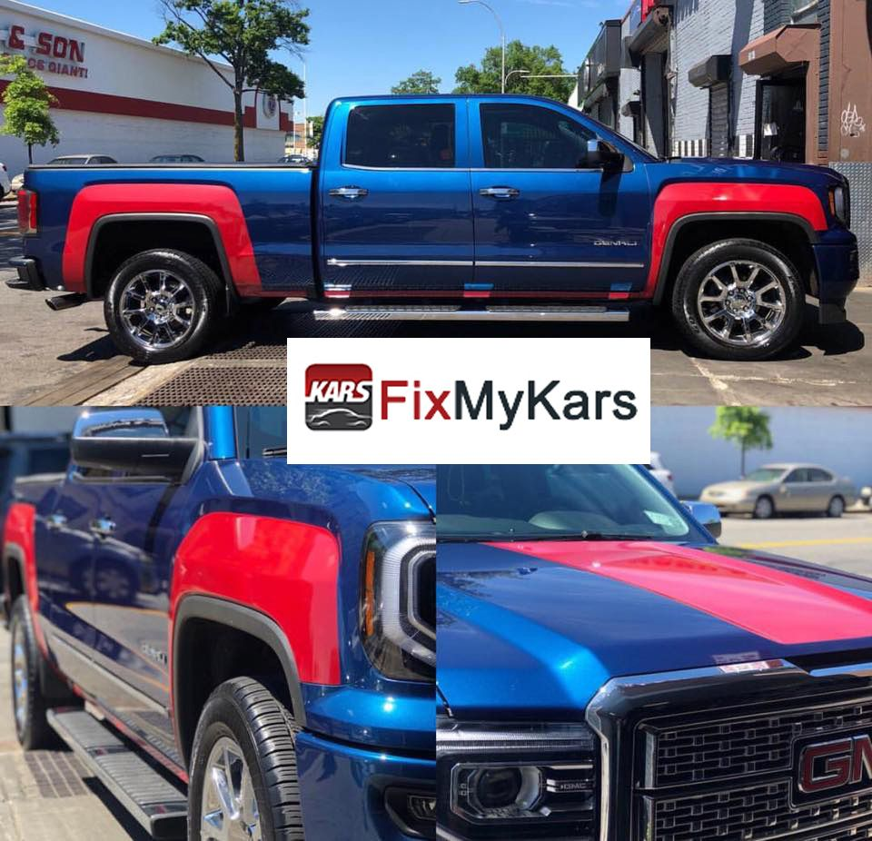 Custom Vinyl Wrap In Gloss Red For This Electric Blue Gmc Sierra