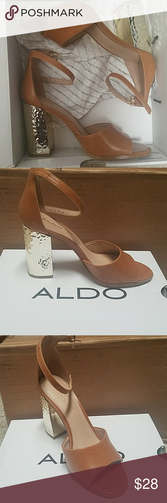 5b765d0e7d7 Aldo Tan Nilia sandal Aldo Nilia sandal, Open toe tan with gold heel ...