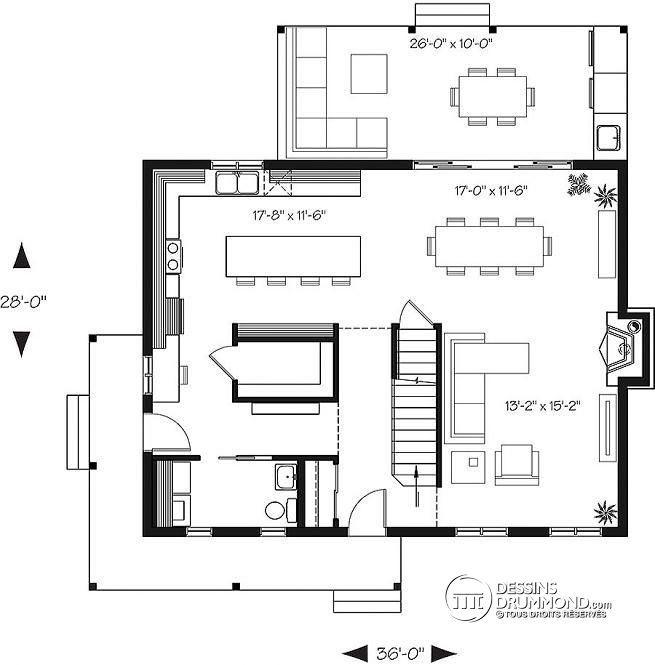 Plan de Rez-de-chaussée Maison de campagne, 3 chambres, grand îlot