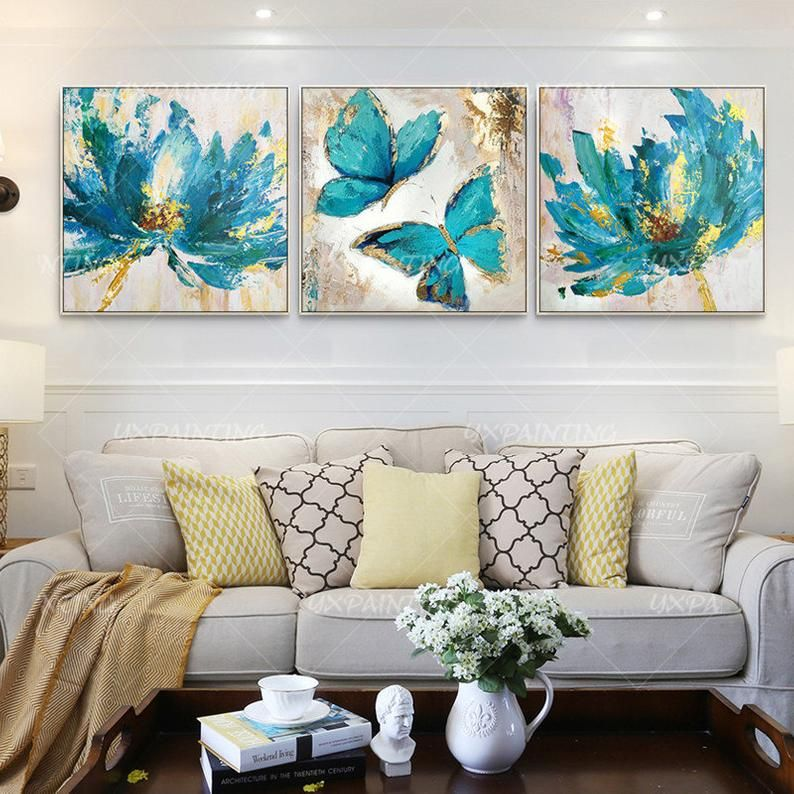 Set Of 3 Wall Art Abstract Floral Butterfly Blue Art Framed Etsy Canvas Painting Painting Blue Art
