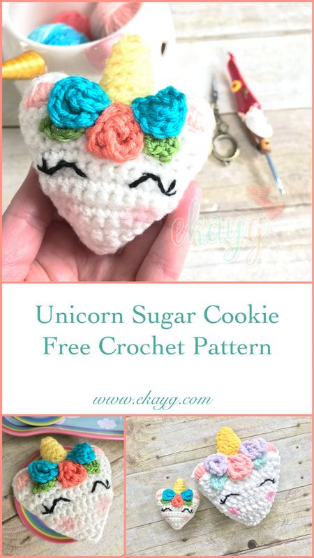 Unicorn Sugar Cookie, Free Crochet Pattern | Ideas | Pinterest ...