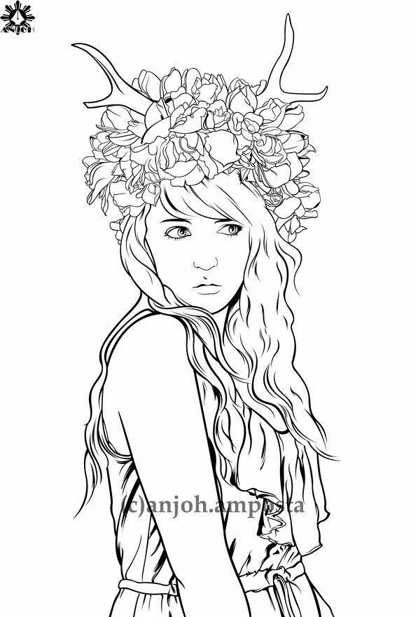 Adult Coloring deer fantasy lineart by Anjoh Fairyland to color - new coloring pages about science