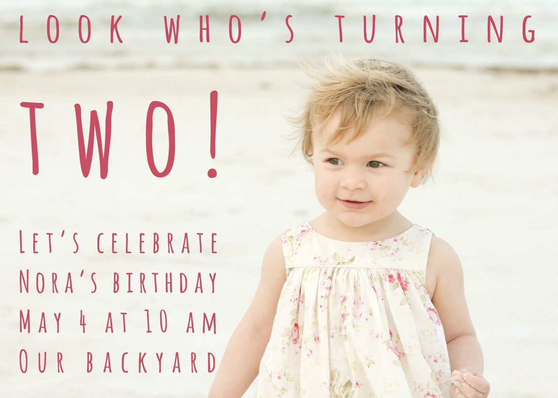 Invitation 2yearold birthday party Beach portrait Portrait – Toddler Girl Birthday Invitations