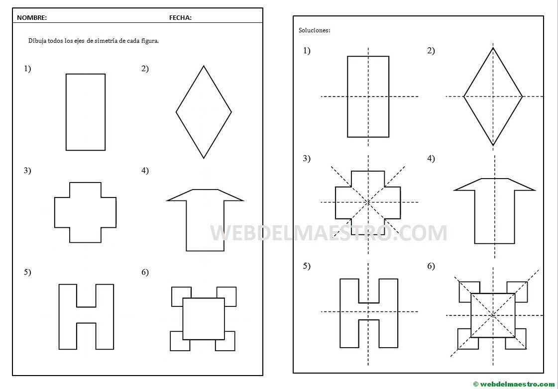 Eje De Simetria Concepto Y Actividades Web Del Maestro Simetria Ejercicios De Simetria Actividades