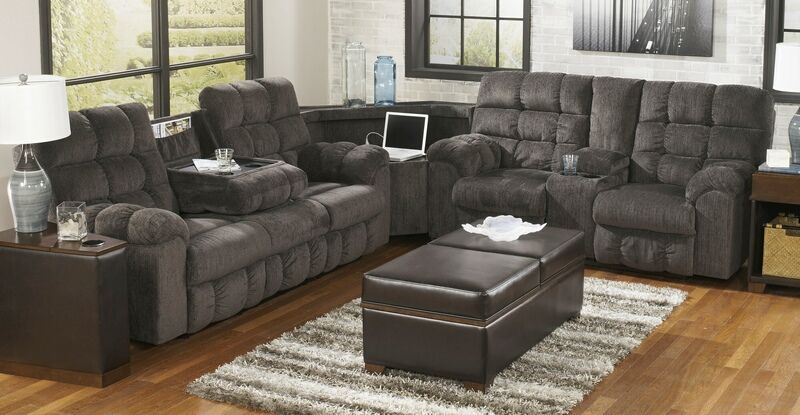 Ashley Furniture 58300 89 77 94 3 Pc Acieona Slate Fabric Sectional Sofa Set Recliner Ends Sectional Sofa With Recliner Living Room Sets Reclining Sectional