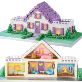 Surprise - it's an open house! Wait until the kids see your interior decorating! It's easy to furnish every room of this Dream Dollhouse Cake with colorful fondant pieces they'll be marveling at throughout the celebration.
