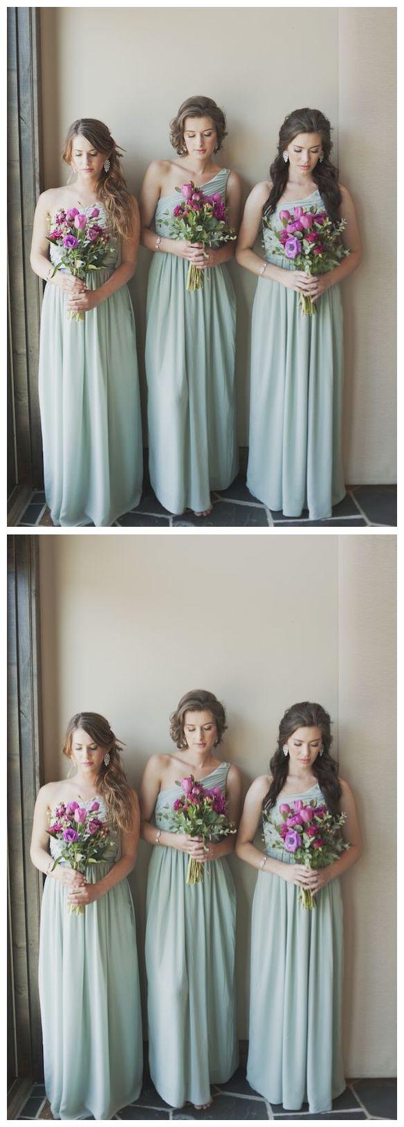 One shoulder mint green bridesmaid dresses plus size maternity long