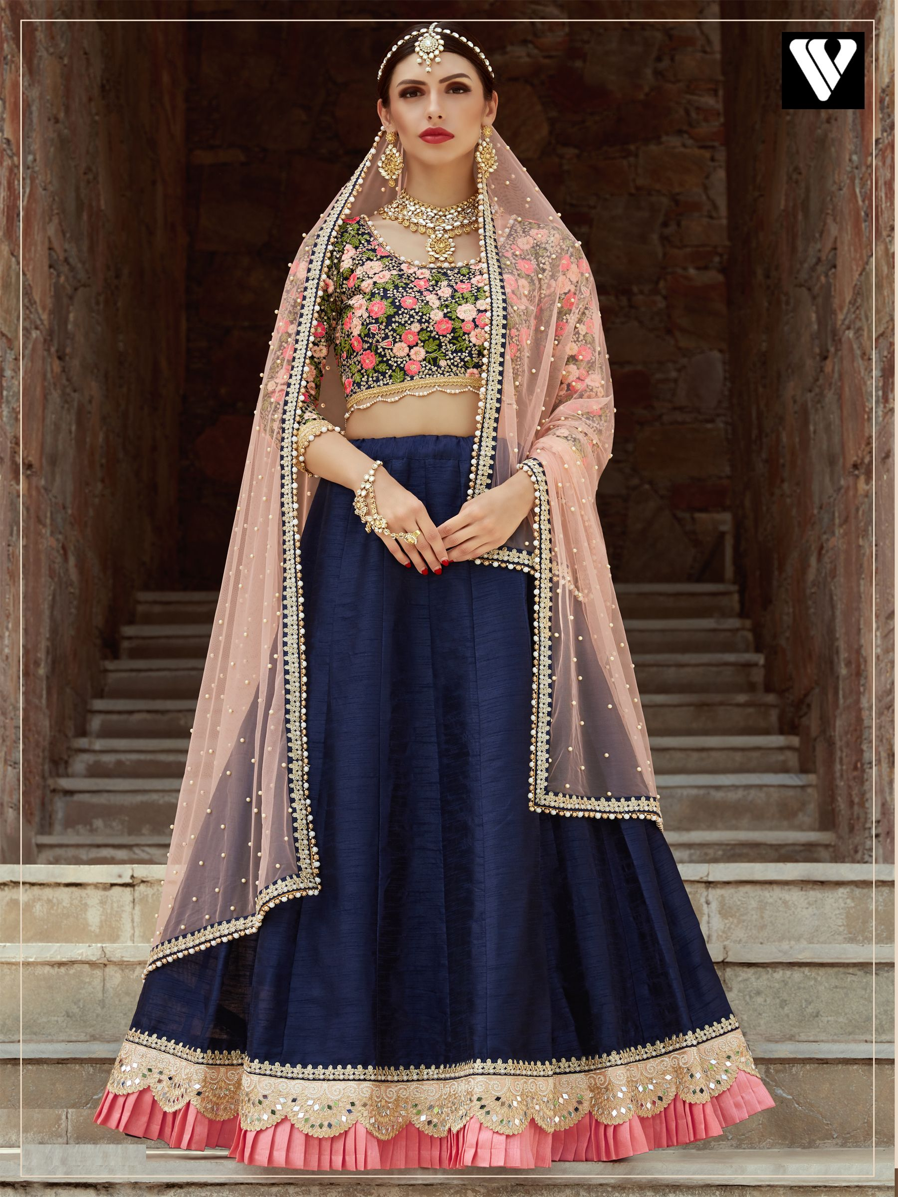 Beautifully design reception wear bridal lehenga in navy blue in