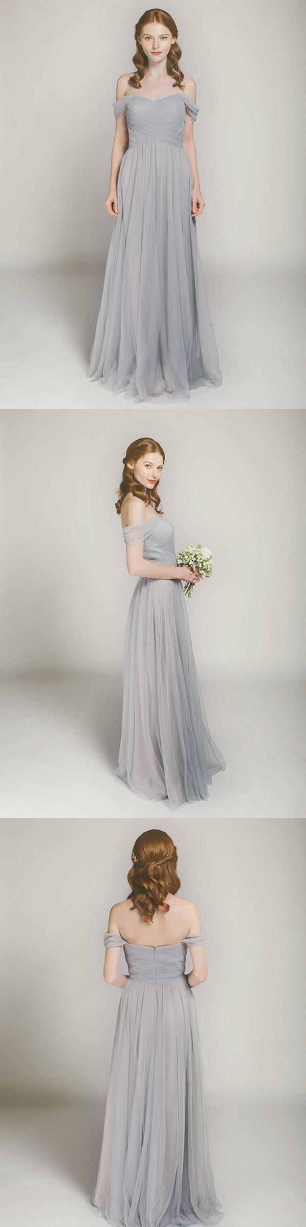 Sky gray long off shoulder tulle bridesmaid dress swbd002 gray sky gray long off shoulder tulle bridesmaid dress swbd002 ombrellifo Gallery