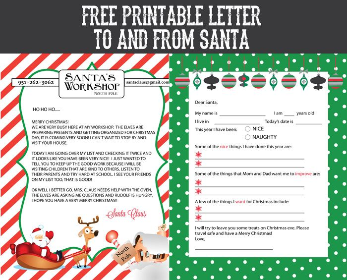 Epic image throughout letter from santa printable