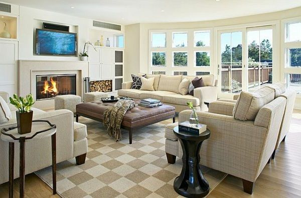 Living Room With Checkered Carpet And Modern Chimney Classy Chimney Living Room Design Review