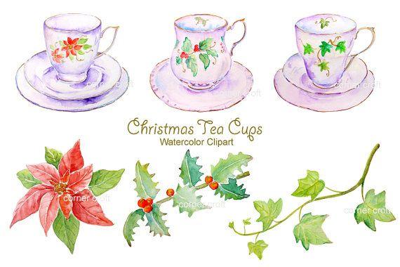 Hand drawn watercolor clipart white christmas tea by CornerCroft