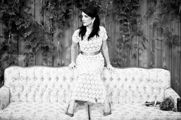Eclectic Bridal Portraits Vintage Sofa Couch Crochet
