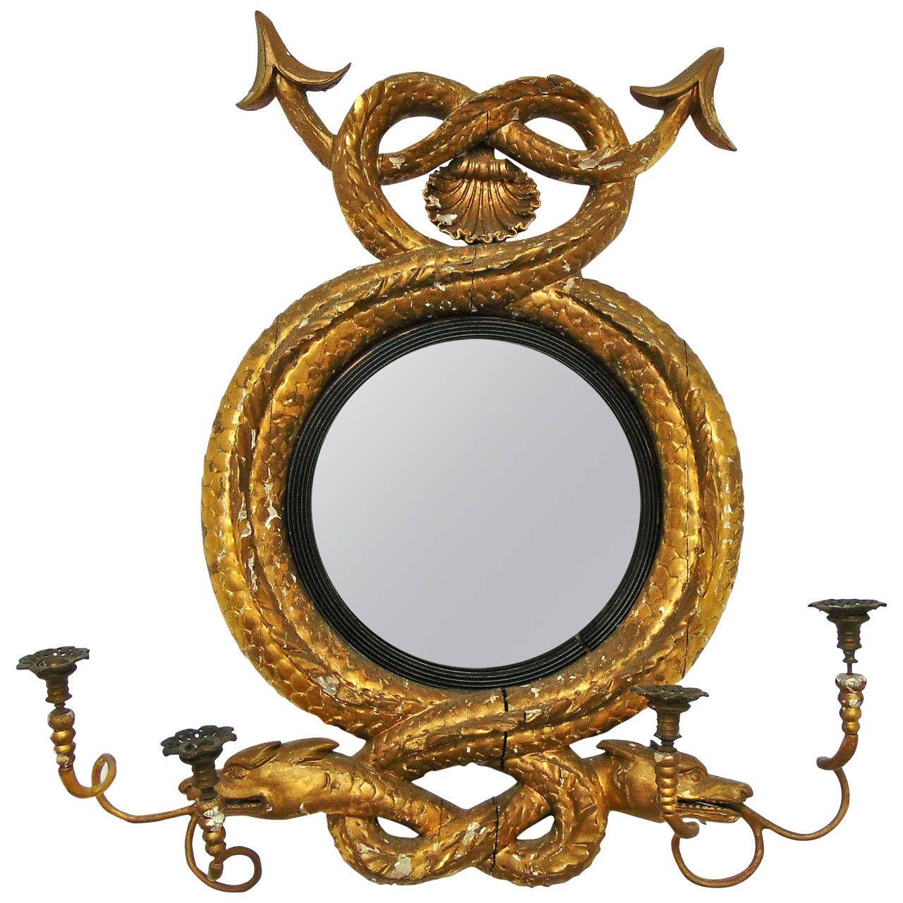 Rare Nautical Sea Serpent Giltwood Convex Mirror Girandole | Espejo ...