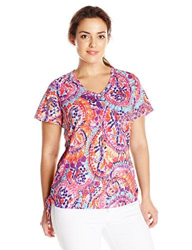 4c5dbb4906a Caribbean Joe Womens Plus Size V Neck Short Sleeve Top with Side Ruche  Aloha Pink 2X     More info could be found at the image url.
