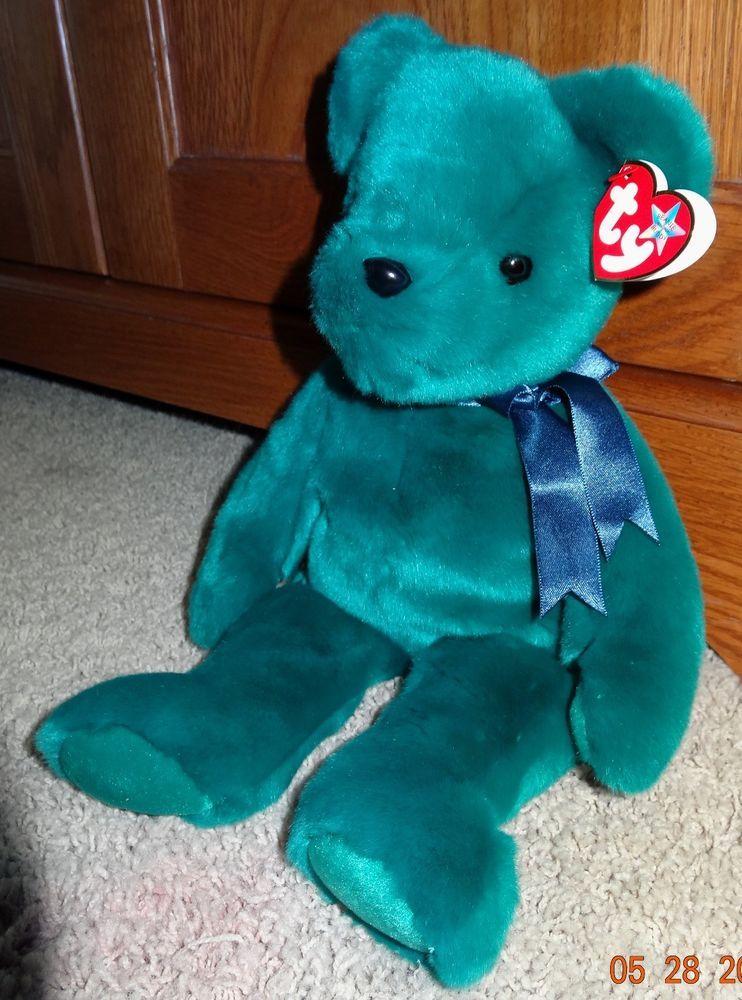 TY Beanie Buddy Teddy Bear Teal Green Stuffed Large Plush - MINT - JB  Ty 84221c369e37