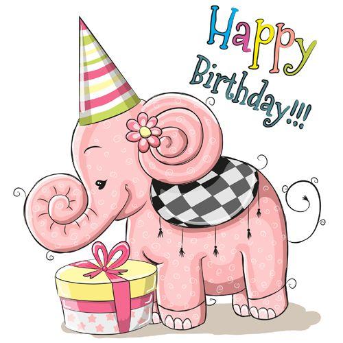 Cute elephant happy birthday cards vector – Happy Birthday Cards Cute