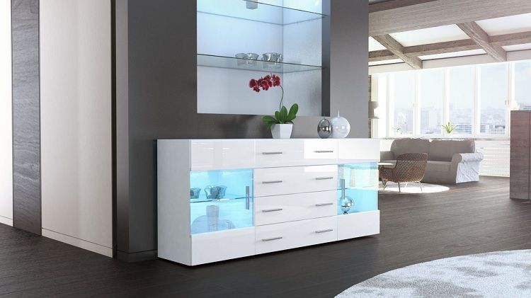Weisses Sideboard Mit Led Beleuchteten Glas Vitrinen Credenza