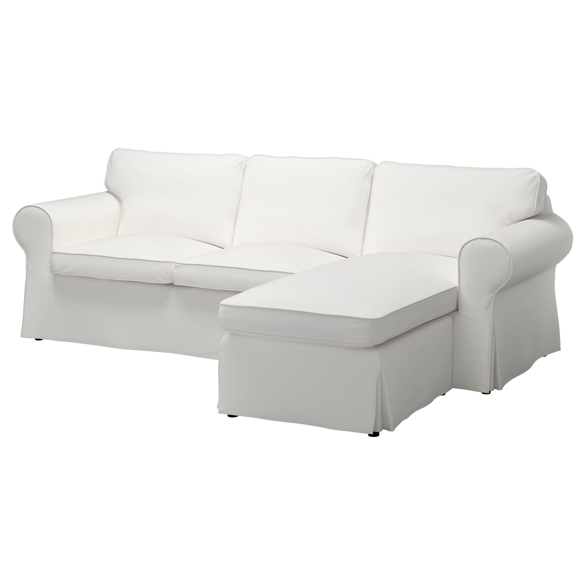 IKEA - EKTORP, Two-seat sofa and chaise longue, Vittaryd white, , Seat cushions filled with high resilience foam and polyester fibre wadding give comfortable support for your body, and easily regain their shape when you get up.Reversible back cushions filled with polyester fibres provide soft support for your back and two different sides to wear.You can place the chaise longue section to the left or right of the sofa, and switch whenever you like.The cover is easy to keep clean as it is…
