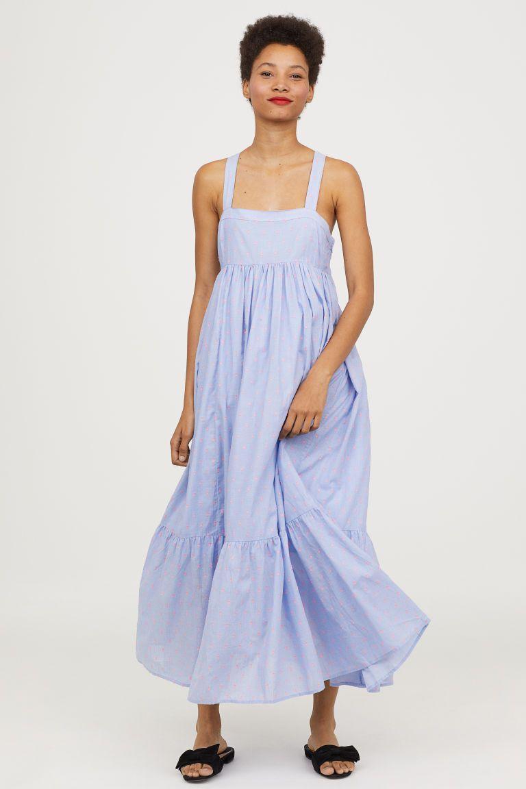 d68aaf354948 Sleeveless long dress - Light blue/Pink spotted - Ladies | H&M GB 1