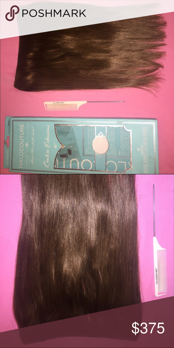 Halo Couture Hair Extensions 16 in. Light Brown #4 Halo Couture Hair Extensions 16 in. Color #4 Light Brown. Makes hair look thick and full! I love them wore them a few times & I love it just bought it in the wrong color and I would rather buy a new one then dye it. Enjoy ! Halo Couture  Other