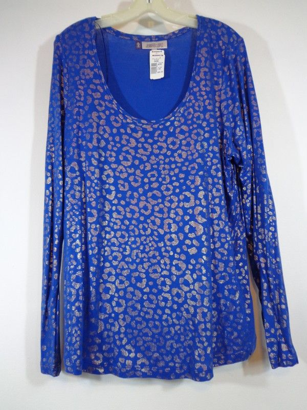 56198bbce22e45 NWT Jennifer Lopez Bright Blue Gold Sparkle Wide Neck Cheetah Print Long  Sleeve Blouse Tee XL