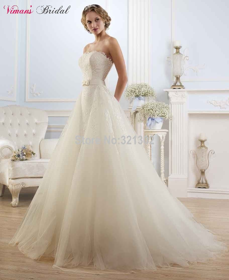 Click to buy ucuc lace aline strapless floor length belted wedding