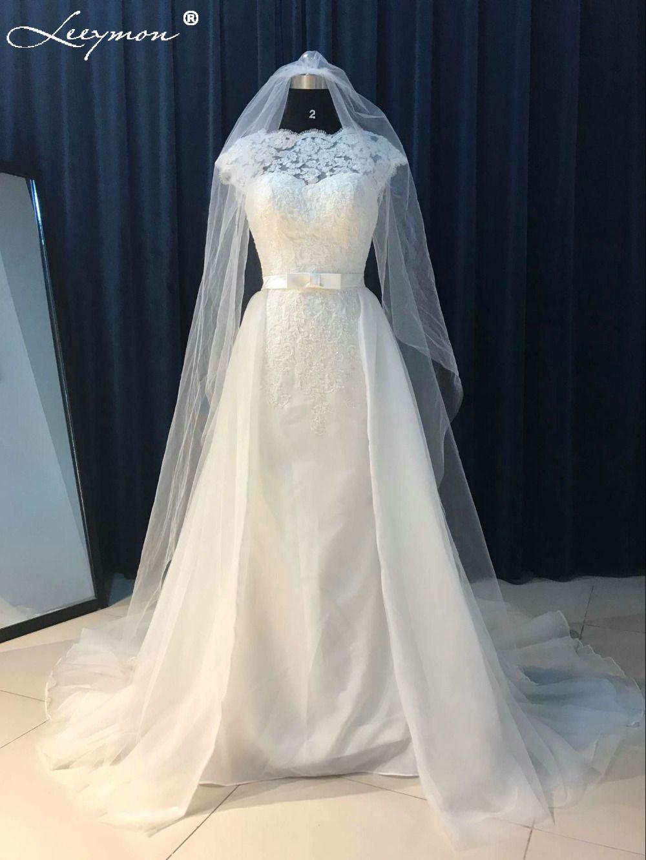 d653efe8fe3 Vintage White Lace Backless Detachable Train Mermaid Wedding Dress -  Uniqistic.com