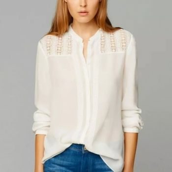 New Women's Ladies Stylish Long Sleeve Lace V-Neck Button Down Splicing Hollow Out Shirt Blouse Tops