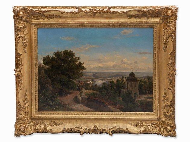 J. Wetzel, Ölgemälde, Blick über eine Flusslandschaft, 1858