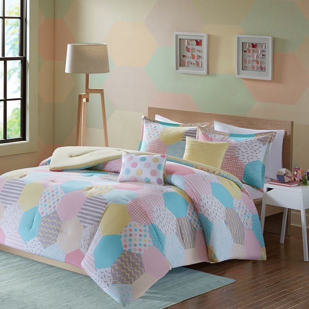 Details About Girls Yellow Pink White Geo Shapes Comforter Set