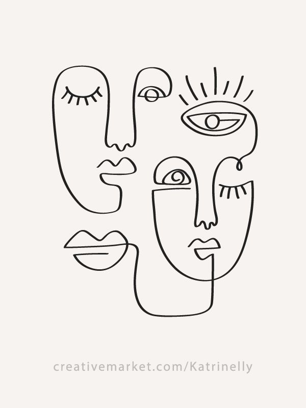 30 Fashion One Line Drawings Abstract Faces & 16 Seamless Patterns Collection