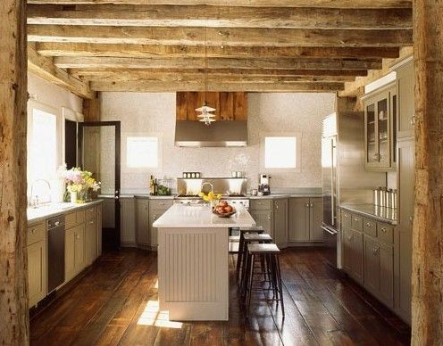 Rustic meets modern in the kitchen - love the rafters with the - kchen ikea