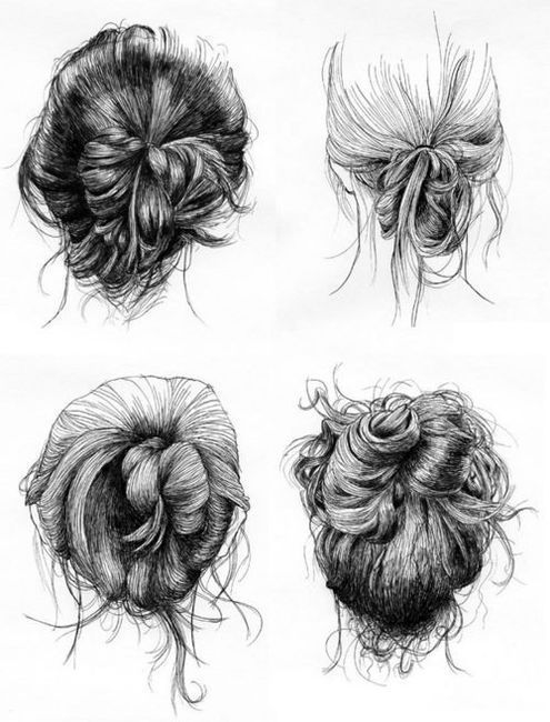 Sketchy Loose Buns How To Draw Hair Messy Hairstyles Bun Hairstyles
