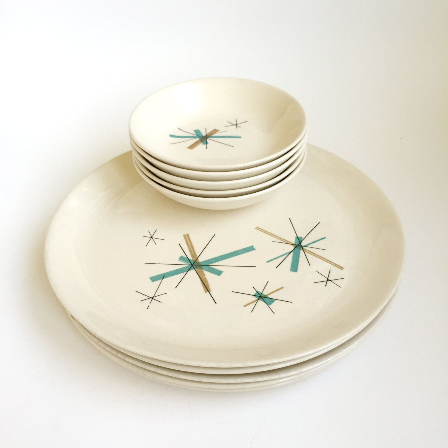 Salem Ovenproof North Star Dinner Plates and Dessert/Fruit Bowls by PowersMod on Etsy