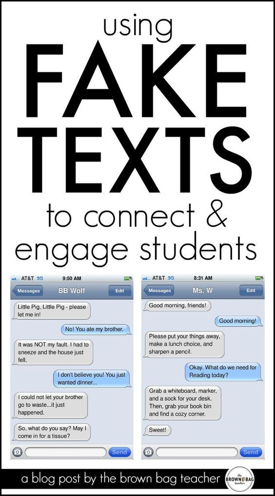 Texting in the Classroom is part of Classroom tech - Our students are saturated in a world of technology  As educators there is immediate buyin when we connections between our students' real worlds and our classrooms  One of my favorite (free) resources to do this is called ifaketext  It allows users to create faux iPhone text conversations  The website lets you fit between 35 and